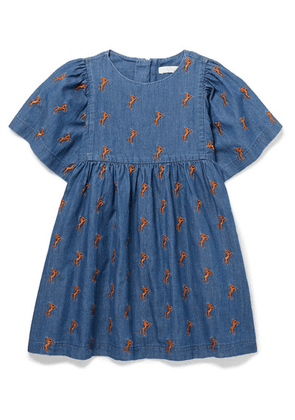 Chloé Kids - Ages 2 - 5 Embroidered Cotton-chambray Dress