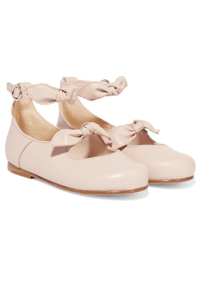 Chloé Kids - Sizes 22 - 24 Bow-detailed Leather Ballet Flats