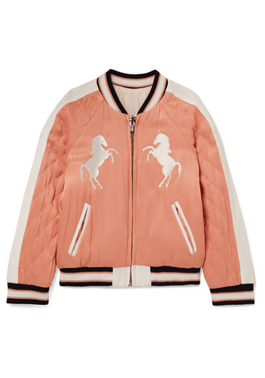 Chloé Kids - Ages 2 - 5 Reversible Embroidered Quilted Satin Bomber Jacket
