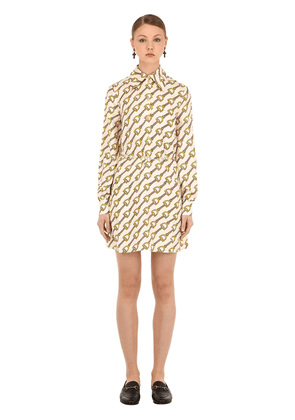 Printed Silk Twill Mini Dress