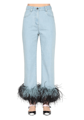 Straight Denim Jeans W/ Feathers