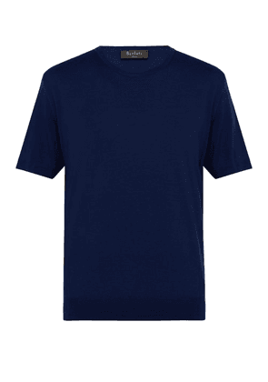 Berluti - Knitted Wool Crew Neck T Shirt - Mens - Blue