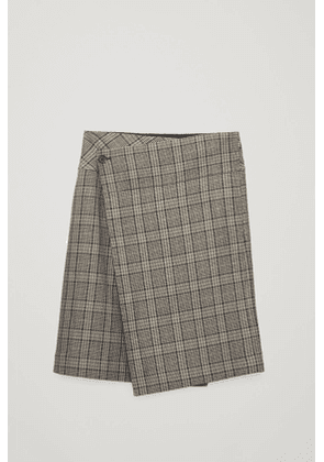 CHECK A-LINE WRAP SKIRT