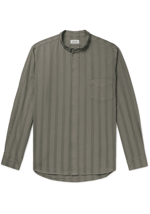 Chimala - Grandad-collar Striped Cotton Shirt - Brown