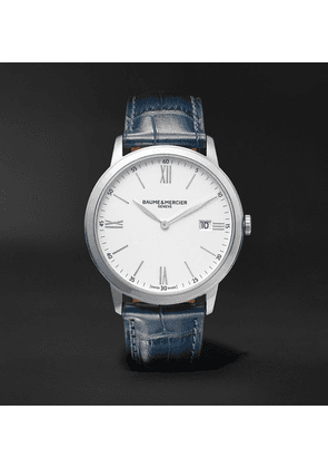 Baume & Mercier - Classima Quartz 40mm Steel And Croc-effect Leather Watch, Ref. No. M0a10508 - White