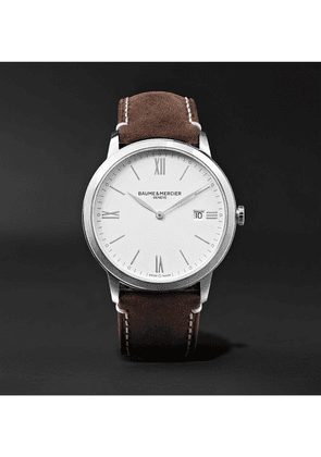 Baume & Mercier - My Classima 40mm Stainless Steel And Leather Watch - White