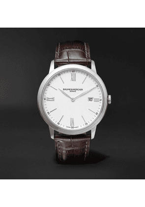 Baume & Mercier - Classima Quartz 40mm Steel And Croc-effect Leather Watch, Ref. No. M0a10507 - White
