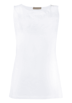 D.Exterior embroidered tank top - White