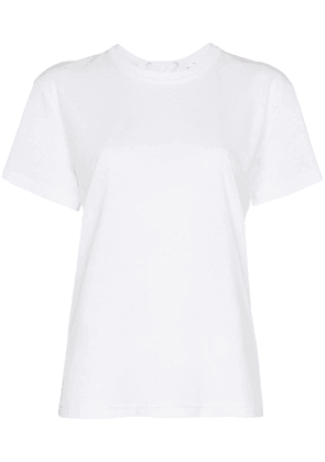 Moncler lace-up logo embossed cotton t-shirt - White
