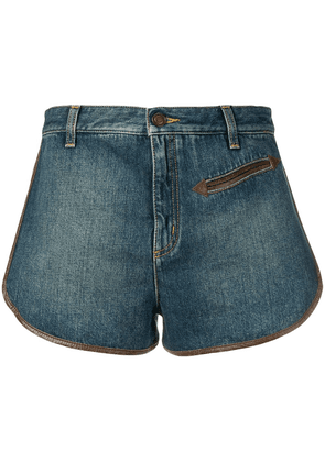 Saint Laurent contrast piping denim shorts - Blue