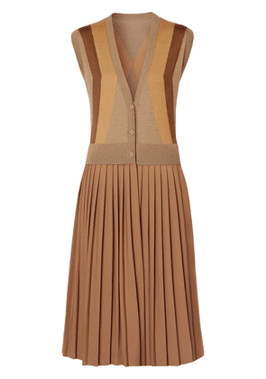 Burberry Sleeveless Knitted Wool V-neck Dress - Brown