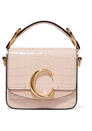 Chloé - Chloé C Mini Suede-trimmed Croc-effect Leather Shoulder Bag - Pastel pink