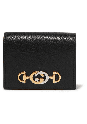 Gucci - Zumi Small Embellished Textured-leather Wallet - Black