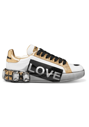 Dolce & Gabbana - Embellished Printed Metallic-trimmed Leather Sneakers - White
