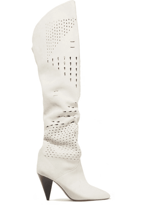 Isabel Marant - Lyde Laser-cut Suede Thigh Boots - White