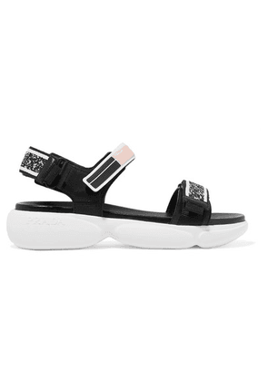 Prada - Cloudbust Logo-embossed Rubber And Canvas-trimmed Leather Sandals - Black