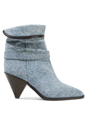 Isabel Marant - Luam Leather-trimmed Denim Ankle Boots - Blue