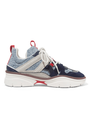 Isabel Marant - Kindsay Denim, Suede And Leather Sneakers - Blue