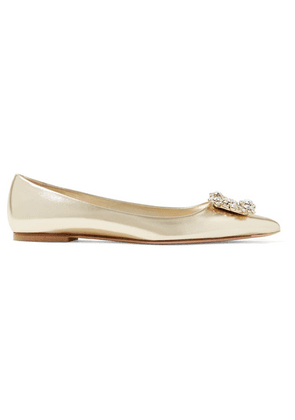 Roger Vivier - Flower Crystal-embellished Metallic Leather Point-toe Flats - Gold