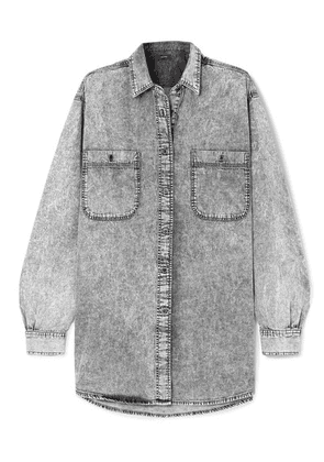 Isabel Marant - Lynton Oversized Stonewashed Denim Shirt - Light gray