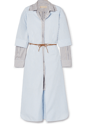 Marni - Layered Striped Cotton-poplin Midi Dress - Blue