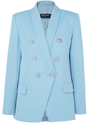 Balmain - Double-breasted Woven Blazer - Blue