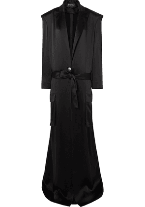 Balmain - Satin Coat - Black
