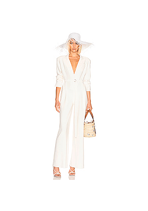 Norma Kamali Single Breasted Straight Leg Jumpsuit in Neutral