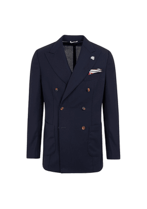 G. Inglese Tropical Blue Wool Double-Breasted Jacket