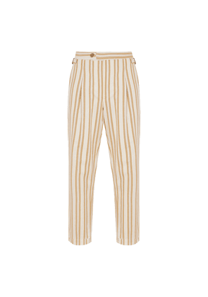 White and Sand Striped Cotton Pleated Trousers