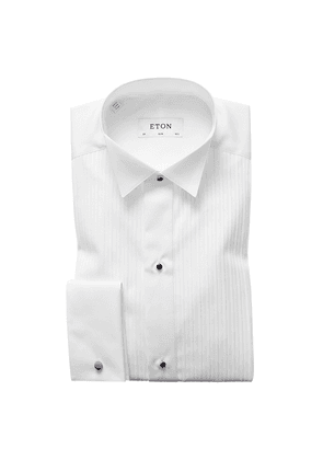 White Cotton Slim Front Wing Double-Cuff Bib-Front Evening Shirt