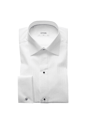White Cotton Slim Cut Away Double-Cuff Pleated Evening Shirt
