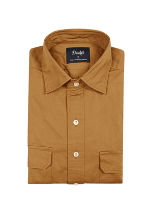 Camel Washed Cotton-Twill English-Collar Work Shirt