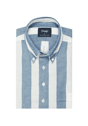 Blue and White Linen and Cotton Button-Down Shirt