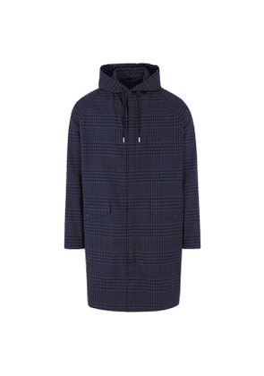 Blue Tartan Check Cotton Hooded Jacket