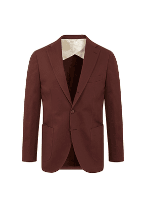Brown Cotton Single Breasted Suit