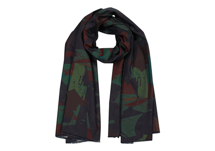 Forest Camo Cotton-Chambray Shawl Scarf