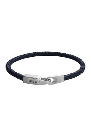 Navy Leather and Sterling Silver Crew Bracelet