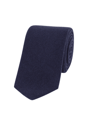 Navy Woven Cashmere Tipped Tie