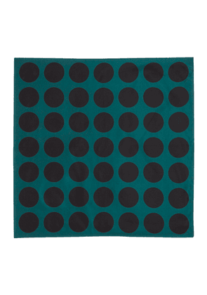 Green Circle Print Silk Pocket Square