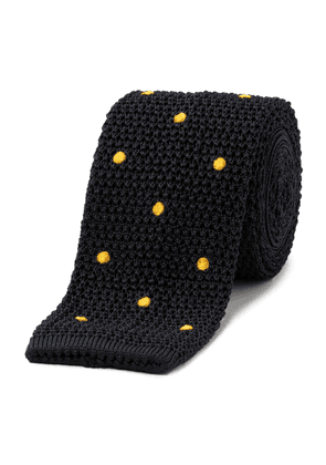 Navy and Gold Polka Dot Knitted Tie