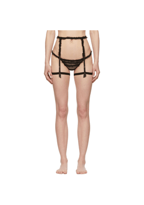 I.D. Sarrieri Black Ruffled Tulle Garter Belt