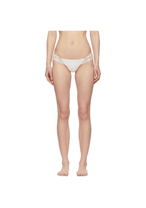 I.D. Sarrieri Off-White Embroidered Tulle Thong