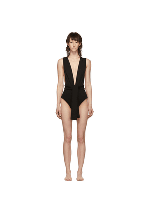 Haight Black Crepe Band V One-Piece Swimsuit