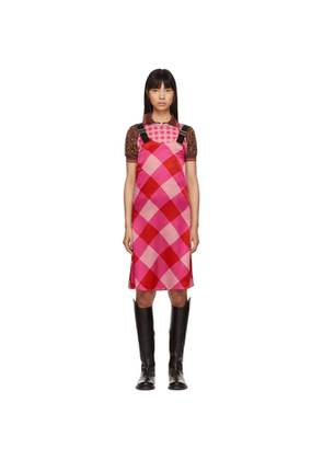 Ovelia Transtoto Pink Check Silk Dress