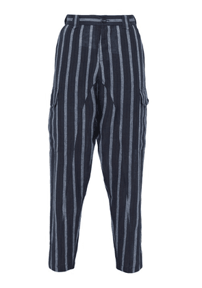 Denis Colomb - Voyageur Striped Linen Trousers - Mens - Navy Multi