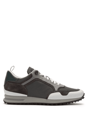 Dunhill - Radial Mesh And Bonded Suede Trainers - Mens - White Multi