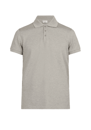 Saint Laurent - Cotton Piqué Polo Shirt - Mens - Grey