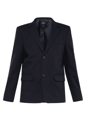 A.p.c. - Brushed Cotton Single Breasted Blazer - Mens - Dark Navy