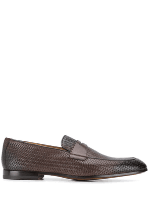 Doucal's woven effect loafers - Brown
